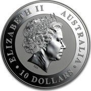Australia 10 Dollars Australian Kookaburra 2010 KM# 1360 ELIZABETH II AUSTRALIA 10 DOLLARS IRB coin obverse