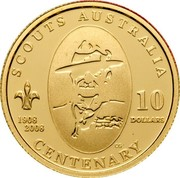 Australia 10 Dollars Centenary of Australian Scouts 2008 KM# 1051 SCOUTS AUSTRALIA 1908 2008 10 DOLLARS CENTENARY CG coin reverse