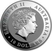 Australia 10 Dollars Kookaburra on a branch 2012 KM# 1693 ELIZABETH II AUSTRALIA 10 DOLLARS IRB coin obverse