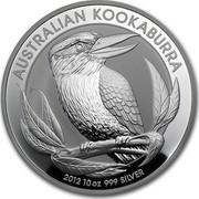 Australia 10 Dollars Kookaburra on a branch 2012 KM# 1693 AUSTRALIAN KOOKABURRA 2012 10 OZ 999 SILVER P coin reverse