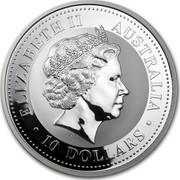 Australia 10 Dollars Lunar Monkey on a branch 2004 KM# 676 ELIZABETH II AUSTRALIA 10 DOLLARS IRB coin obverse
