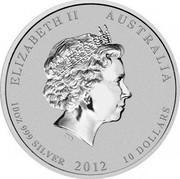 Australia 10 Dollars Year of the Dragon 2012 KM# 1667 ELIZABETH II AUSTRALIA 10 OZ 999 SILVER 2012 10 DOLLARS IRB coin obverse