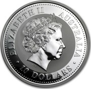 Australia 10 Dollars Year of the Horse 2002 KM# 583 ELIZABETH II AUSTRALIA 10 DOLLARS IRB coin obverse