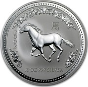 Australia 10 Dollars Year of the Horse 2002 KM# 583 2002 10 OZ 999 SILVER coin reverse