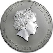 Australia 10 Dollars Year of the Mouse 2008 KM# 1057a ELIZABETH II AUSTRALIA 10 OZ 999 SILVER 2008 10 DOLLARS IRB coin obverse