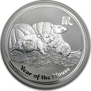 Australia 10 Dollars Year of the Mouse 2008 KM# 1057a YEAR OF THE MOUSE P coin reverse