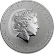 Australia 10 Dollars Year of the Ox 2009 KM# 1752 ELIZABETH II AUSTRALIA 10 OZ 999 SILVER 2009 10 DOLLARS IRB coin obverse