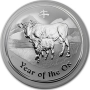 Australia 10 Dollars Year of the Ox 2009 KM# 1752 YEAR OF THE OX P coin reverse