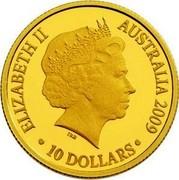 Australia 10 Dollars Year of the Ox 2009 Proof KM# 1079 ELIZABETH II AUSTRALIA 2009 10 DOLLARS IRB coin obverse