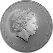 Australia 10 Dollars Year of the Rabbit 2011 KM# 1478 ELIZABETH II AUSTRALIA 10 OZ 999 SILVER 2011 10 DOLLARS IRB coin obverse