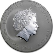 Australia 10 Dollars Year of the Tiger 2010 KM# 1372 ELIZABETH II AUSTRALIA 10 OZ 999 SILVER 2010 10 DOLLARS IRB coin obverse