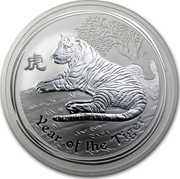 Australia 10 Dollars Year of the Tiger 2010 KM# 1372 YEAR OF THE TIGER coin reverse