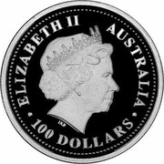 Australia 100 Dollars Australian Koala 2005 KM# 939 ELIZABETH II AUSTRALIA 100 DOLLARS IRB coin obverse