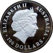 Australia 100 Dollars Australian Stories - Sports 2004 KM# 742 ELIZABETH II AUSTRALIA 100 DOLLARS IRB coin obverse