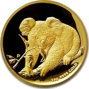 Australia 100 Dollars Koala on a branch 2010 KM# 1469 1 OZ 9999 GOLD P coin reverse