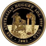 Australia 100 Dollars The Australian Nugget 2002 KM# 900 THE AUSTRALIAN NUGGET 1 OZ. 9999 GOLD 2002 AUSTRALIAN PROSPECTOR SERIES P coin reverse
