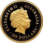 Australia 100 Dollars The Australian Nugget 2003 KM# 906 ELIZABETH II AUSTRALIA 100 DOLLARS IRB coin obverse