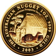 Australia 100 Dollars The Australian Nugget 2003 KM# 906 THE AUSTRALIAN NUGGET 1 OZ. 9999 GOLD 2003 AUSTRALIAN PROSPECTOR SERIES P LK coin reverse