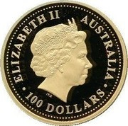 Australia 100 Dollars The Australian Nugget 2004 KM# 741 ELIZABETH II AUSTRALIA 100 DOLLARS IRB coin obverse