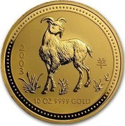 Australia 1000 Dollars Year of the Goat 2003 KM# 715 2003 10 OZ 9999 GOLD coin reverse