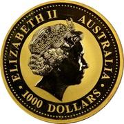 Australia 1000 Dollars Year of the Horse 2002 2002 P KM# 1337 ELIZABETH II AUSTRALIA • 1000 DOLLARS • IRB coin obverse