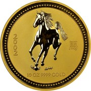 Australia 1000 Dollars Year of the Horse 2002 2002 P KM# 1337 2002 10 OZ 9999 GOLD coin reverse