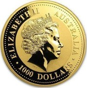 Australia 1000 Dollars Year of the Horse 2002 KM# 708 ELIZABETH II AUSTRALIA 1000 DOLLARS IRB coin obverse
