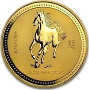 Australia 1000 Dollars Year of the Horse 2002 KM# 708 2002 10 OZ 9999 GOLD coin reverse
