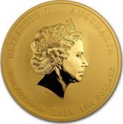Australia 1000 Dollars Year of the Rabbit 2011 KM# 1487 ELIZABETH II AUSTRALIA 10 OZ 9999 GOLD 2011 1000 DOLLARS coin obverse