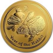 Australia 1000 Dollars Year of the Rabbit 2011 KM# 1487 YEAR OF THE RABBIT P coin reverse