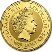 Australia 1000 Dollars Year of the Snake 2001 KM# 705 ELIZABETH II AUSTRALIA 1000 DOLLARS IRB coin obverse
