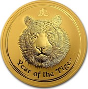 Australia 1000 Dollars Year of the Tiger 2010 (p) KM# 1378 YEAR OF THE TIGER P coin reverse