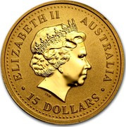 Australia 15 Dollars Australian Kangaroo 2005 KM# 911 ELIZABETH II AUSTRALIA 15 DOLLARS coin obverse