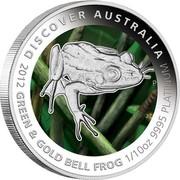 Australia 15 Dollars Bell Frog 2012 P Proof KM# 1848 DISCOVER AUSTRALIA 2012 GREEN & GOLD BELL FROG 1/10OZ 9995 PLATINUM P TV coin reverse