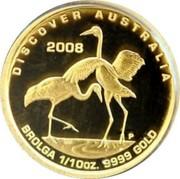 Australia 15 Dollars Brolga 2008 P Proof KM# 1188 DISCOVER AUSTRALIA 2009 BROLGA 1/10OZ 9999 GOLD P DB coin reverse