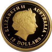 Australia 15 Dollars Common wombat 2007 Proof KM# 969 ELIZABETH II AUSTRALIA 15 DOLLARS IRB coin obverse