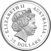 Australia 15 Dollars Discover Australia - Black-Anther Flax-Lily 2008 KM# 1201 ELIZABETH II AUSTRALIA 15 DOLLARS IRB coin obverse