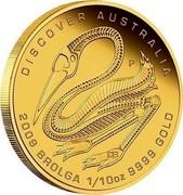 Australia 15 Dollars Discover Australia - Brolga 2009 KM# 1225 DISCOVER AUSTRALIA 2009 BROLGA 1/10 OZ 9999 GOLD P DB coin reverse