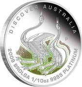 Australia 15 Dollars Discover Australia - Brolga 2009 KM# 1235 DISCOVER AUSTRALIA 2009 BROLGA 1/10 OZ 9995 PLATINUM P DB coin reverse