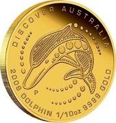 Australia 15 Dollars Discover Australia - Dolphin 2009 KM# 1223 DISCOVER AUSTRALIA 2009 DOLPHIN 1/10 OZ 9999 GOLD P DB coin reverse