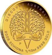 Australia 15 Dollars Discover Australia - Echidna 2009 KM# 1226 DISCOVER AUSTRALIA 2009 ECHIDNA 1/10 OZ 9999 GOLD P DB coin reverse
