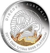 Australia 15 Dollars Discover Australia - Emu 2011 KM# 1538 DISCOVER AUSTRALIA 2011 EMU 1/10 OZ 9995 PLATINUM P DB coin reverse