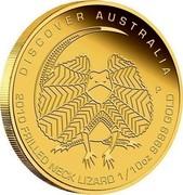 Australia 15 Dollars Discover Australia - Frilled Neck Lizard 2010 KM# 1401 DISCOVER AUSTRALIA 2010 FRILLED NECK LIZARD 1/10 OZ 9999 GOLD P DB coin reverse