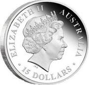 Australia 15 Dollars Discover Australia - Great White Shark 2011 KM# 1556 ELIZABETH II AUSTRALIA 15 DOLLARS IRB coin obverse