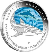 Australia 15 Dollars Discover Australia - Great White Shark 2011 KM# 1556 DISCOVER AUSTRALIA 2011 GREAT WHITE SHARK 1/10 OZ 9995 PLATINUM P DB coin reverse