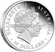 Australia 15 Dollars Discover Australia - King Brown Snake 2009 KM# 1234 ELIZABETH II AUSTRALIA 15 DOLLARS IRB coin obverse