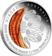 Australia 15 Dollars Discover Australia - King Brown Snake 2009 KM# 1234 DISCOVER AUSTRALIA 2009 KING BROWN SNAKE 1/10 OZ 9995 PLATINUM P DB coin reverse