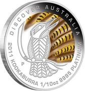 Australia 15 Dollars Discover Australia - Kookaburra 2011 KM# 1550 DISCOVER AUSTRALIA 2011 KOOKABURRA 1/10 OZ 9995 PLATINUM P DB coin reverse