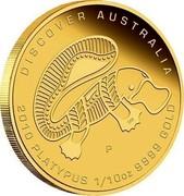 Australia 15 Dollars Discover Australia - Platypus 2010 KM# 1413 DISCOVER AUSTRALIA 2010 PLATYPUS 1/10 OZ 9999 GOLD P DB coin reverse