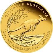 Australia 15 Dollars Discover Australia - Red Kangaroo 2012 KM# 1724 DISCOVER AUSTRALIA 2012 RED KANGAROO 1/10 OZ 9999 GOLD P TV coin reverse